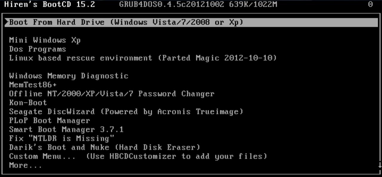 Hiren's BootCD 15.2 Standart / Full [Rus by lexapass] (05.05.2013)