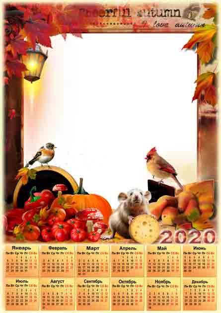 Календарь на 2020 год осенней тематики с крысой для фотошопа http://so